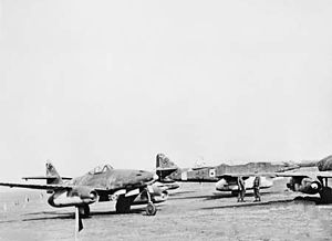 Me 262s at Fassberg in 1945.jpg