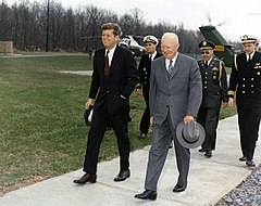 81ed11fb0a0c President John F. Kennedy meets with Eisenhower at Camp David, April 22,  1961, three days after the failed Bay of Pigs Invasion