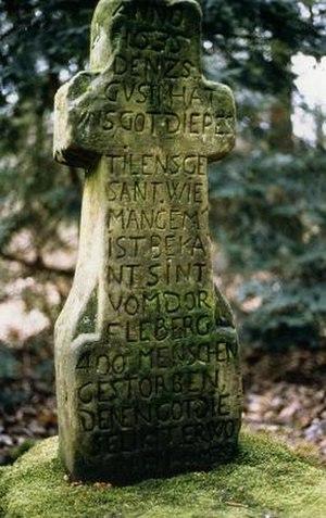 Stone cross - Plague cross on plague cemetery near Leiberg