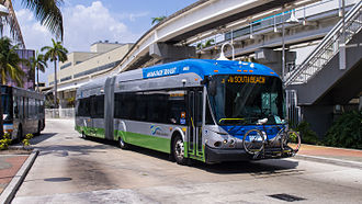 Miami-Dade Transit - a Metrobus bus at Adrienne Arsht Center Bus Terminal (2012)
