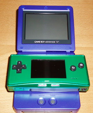 Game Boy Micro - Comparing the size of Game Boy Micro and Game Boy Advance SP.