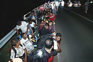 European migrant crisis - Migrants along the Western Balkan route crossing from Serbia into Hungary, 24 August 2015