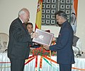 Miguel Angel Moradinos and the Union Home Minister, Shri Shivraj Patil exchanging documents signed on Mutual Legal Assistance Treaty on Criminal Matters, in New Delhi on July 03, 2006.jpg