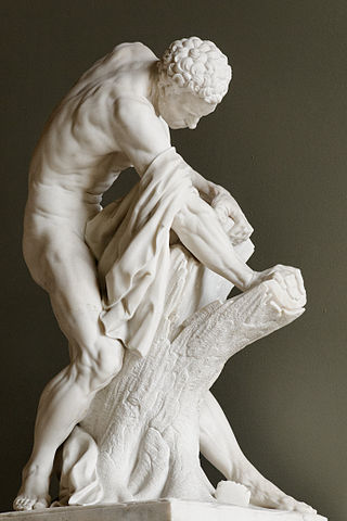 marble sculpture depicting Milo attempting to split the tree (c. 18th century AD) - Historical Strongmen and Weightlifters