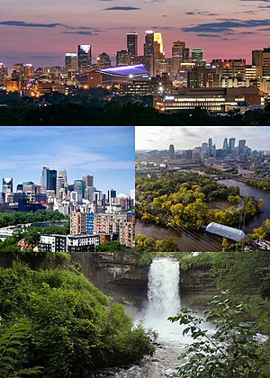 Clockwise from top left: Downtown Minneapolis at night, the Mississippi River, Minnehaha Falls, and the skyline from the East Bank.