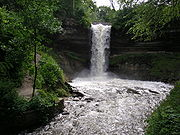 Minnehaha Falls is part of a 193acre (.78km²) city park rather than an urban area, because the waterpower provided by the falls was overshadowed by that of St. Anthony Falls a few miles upriver and its popularity after Longfellow's poem Song of Hiawatha brought visitors to the falls.