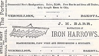 Vermillion, South Dakota - 1888 advertisement