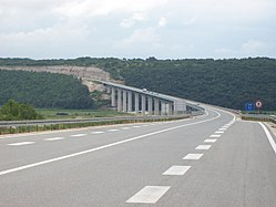 A view of motorway bridge from the pavement level