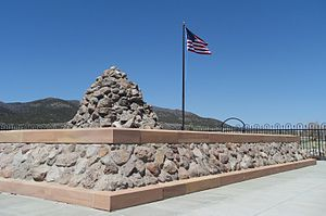 English: A view of the 1999 Monument and cairn...