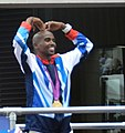 Mo Farah does the Mobot.JPG