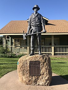 Mogollon Rim Country Firefighter Memorial - Rim Country Museum - Payson, Arizona. The plaque lists the dates, fires and the names of the firefighters who perished.jpg