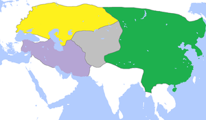 Kaidu–Kublai war - The division of the Mongol Empire, c. 1300, with Yuan dynasty in green, Golden Horde in yellow, Chagatai Khanate in gray, and Ilkhanate in purple.