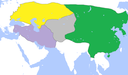 The division of the Mongol Empire, c. 1300, with Golden Horde in yellow. MongolEmpireDivisions1300.png