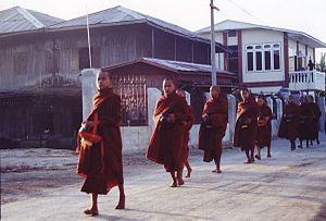 English: Burma-Myanmar, Young Monks walking in...