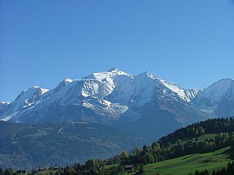 Alps - Mont Blanc, the highest mountain in the Alps, view from the Savoy side