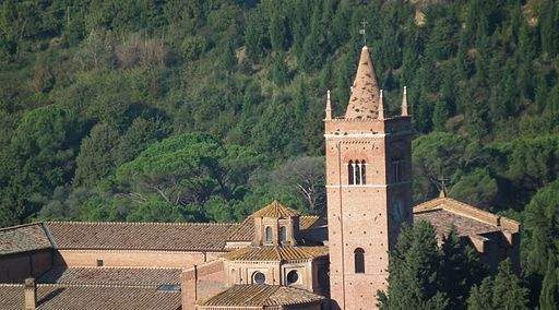 Monte Oliveto Maggiore, church and belltower