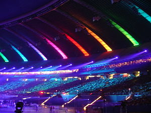2006 World Outgames - Lights at the Olympic Stadium, Outgames Opening, click to enlarge