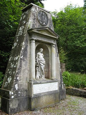 John Boyle, 3rd Earl of Glasgow - Monument to the 3rd Earl of Glasgow in the gardens of Kelburn Castle