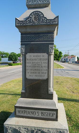 Mariano S. Bishop - Monumant to Mariano S. Bishop, Rhode Island Avenue, Fall River, Massachusetts