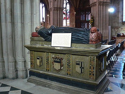 Effigy of Robert, eldest son of Alice and Thomas Wylde, Worcester Cathedral Monument to Robert Wilde, clothier.jpg