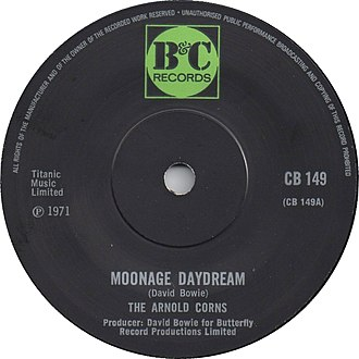 Moonage Daydream - Image: Moonage Daydream by The Arnold Corns UK vinyl 1971
