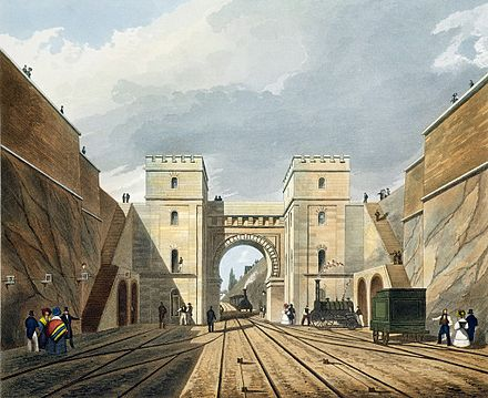 Bury's watercolour of the Moorish Arch at Edge Hill Moorish Arch looking from the Tunnel, from Bury's Liverpool and Manchester Railway, 1831 - artfinder 122454.jpg