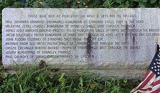 Morewood massacre - Image: Morewood Massacre memorial marker