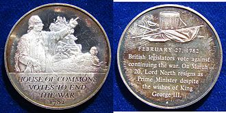 Frederick North, Lord North - This modern Silver medallion commemorates the motion of no confidence against North on 27 February 1782 to end the American War of Independence. Subsequently, North resigned in March 1782.