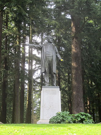 Harvey W. Scott - Sculpture of Scott by Gutzon Borglum at Mount Tabor Park, 1933