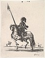 Mounted cuirassier holding a lance upright and riding towards left, other horsemen in the background, from 'Various cavalry exercises' (Diverses exercices de cavalerie) MET DP833134.jpg