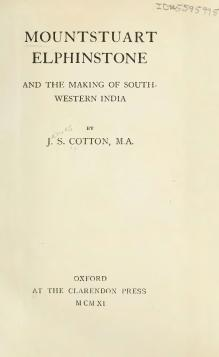 Mountstuart Elphinstone and the Making of South-western India.djvu