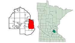 Location in Hennepin County and the state of Minnesota.