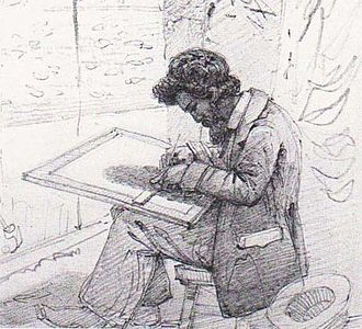 Austen Henry Layard - A. H. Layard at Kuyunjik. Drawing by Solomon Caesar Malan, 1850