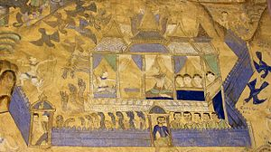 Literature of Laos - A mural of San Sin Xay epic from Wat Chaisi in Isan, Thailand.
