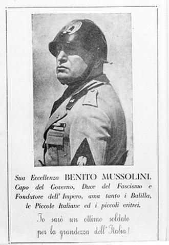 Fascist Italy (1922–1943) - Propaganda poster of Mussolini