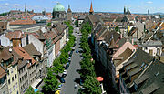 View over old Nuremberg from Spittlertor-Tower