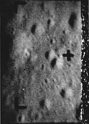 Ranger 7 - Last picture by Ranger 7, taken about 488 m above the Moon, reveals features as small as 38 cm across. The noise pattern at right results from spacecraft impact while transmitting.
