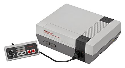 The Nintendo Entertainment System, Nintendo's first major success in the home console market Nes-console-with-controller.jpg