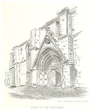 Bedesten, Nicosia - A drawing of the north side of the Bedesten in 1881, showing main door.