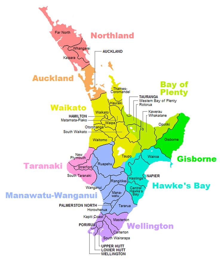 NZ Territorial Authorities North Island