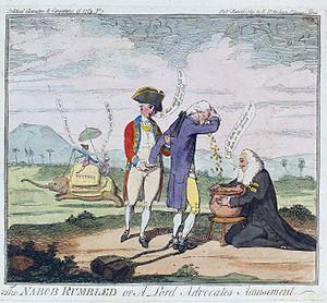 "Thomas Rumbold - Cartoon depicting Thomas Rumbold (""Nabob Rumbled"") bribing Henry Dundas"