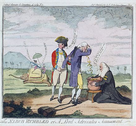 "Cartoon depicting Thomas Rumbold (""Nabob Rumbled"") bribing Henry Dundas Nabob rumbled.jpg"