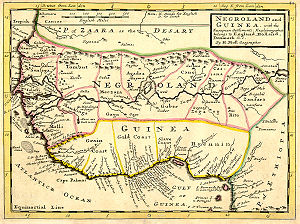 Negro - A European map of West Africa, 1736. Included is the archaic mapping designation of Negroland.