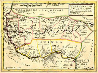 "Colonisation of Africa - Map of West Africa, ca. 1736, ""explaining what belongs to England, Holland, Denmark, etc."""