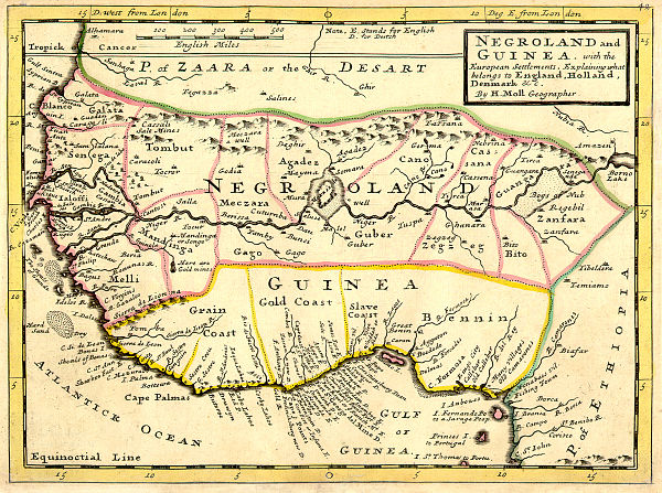 Map of Negroland and Guinea including the Slave Coast, 1736, by London cartographer Hermann Moll Negroland and Guinea with the European Settlements, 1736.jpg