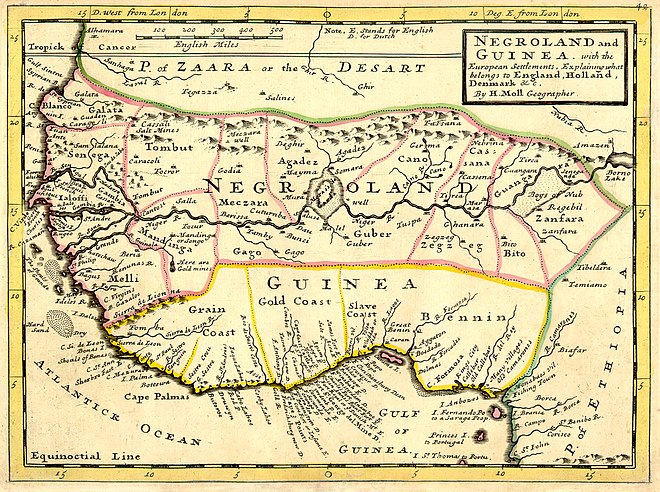 A European map of West Africa and the Grain Coast, 1736. It has the archaic mapping designation of Negroland. Negroland and Guinea with the European Settlements, 1736.jpg