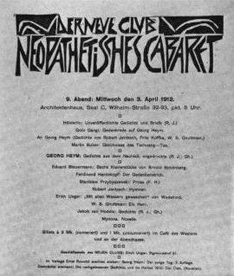 Jakob van Hoddis - Neopathetisches Cabaret poster, 1912