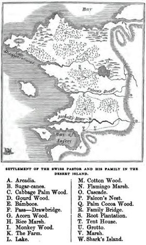 "The Swiss Family Robinson - The Map of ""New Switzerland."""