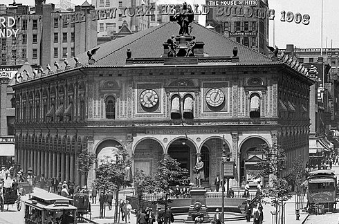 New York Herald Building (1908) by architect Stanford White, demolished in 1921 New York Herald Building c1895; demolished 1921.jpg