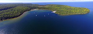Door County, Wisconsin - An aerial photo of Nicolet Bay at Peninsula State Park